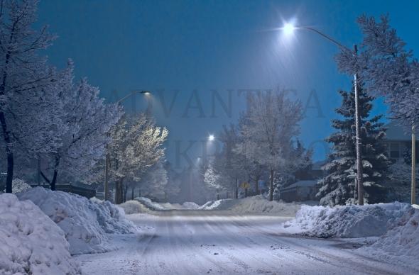 Empty street on a winter night