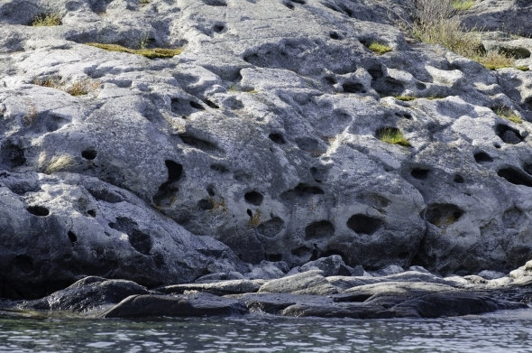 Rocks with holes and indentations