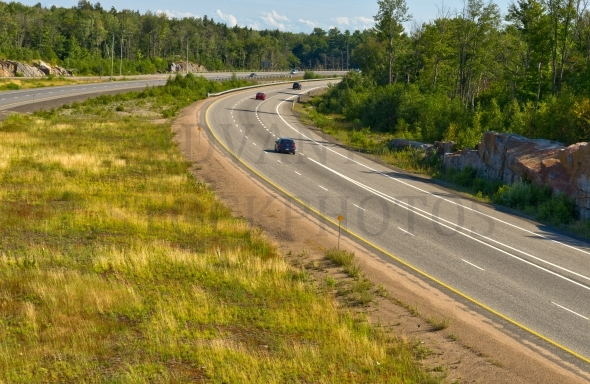 Four-lane highway with a wide median