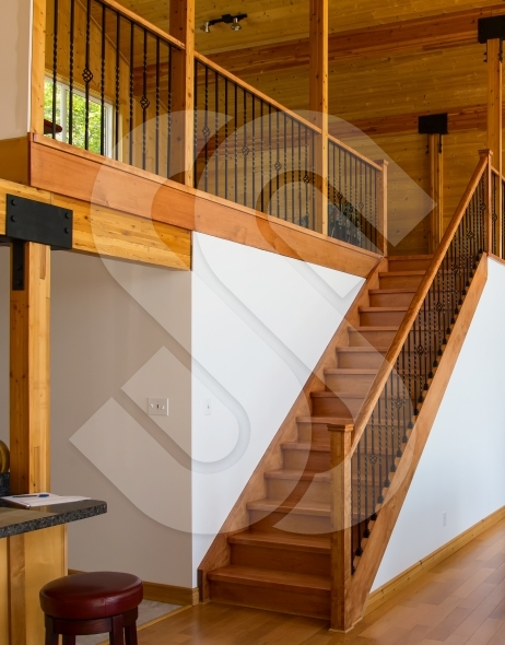 Oakwood stairs / staircase leading to loft