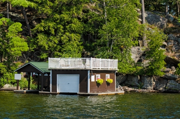 Small boathouse and covered slip