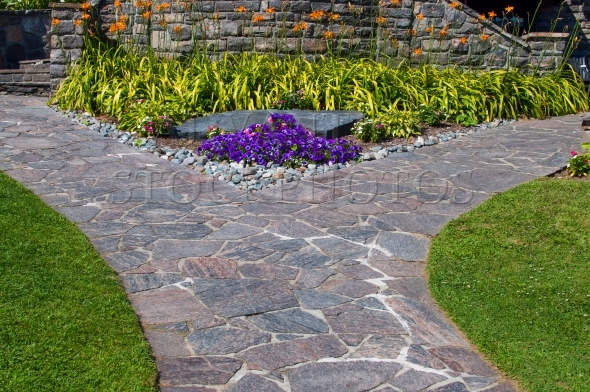 Garden path made of slate stones