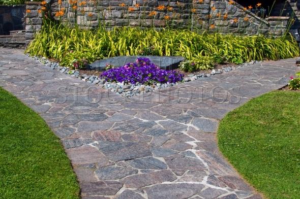 Garden path made of slate stones
