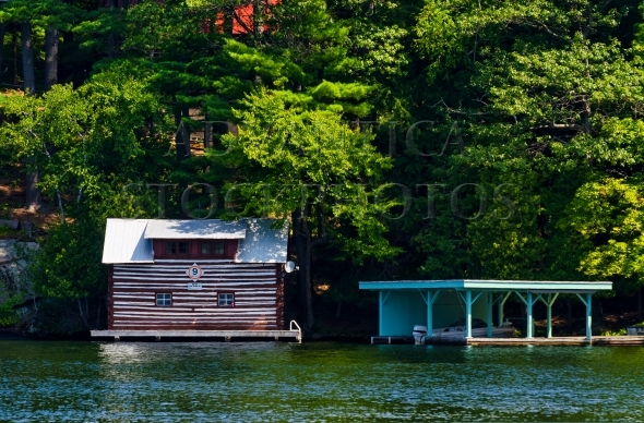 Rustic boathouse and a covered boat slip