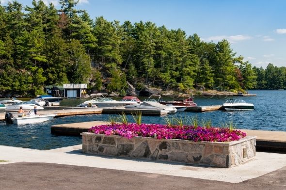 Marina with boats and flowers at rocky shore