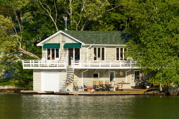 Boathouse with living quarters upstairs