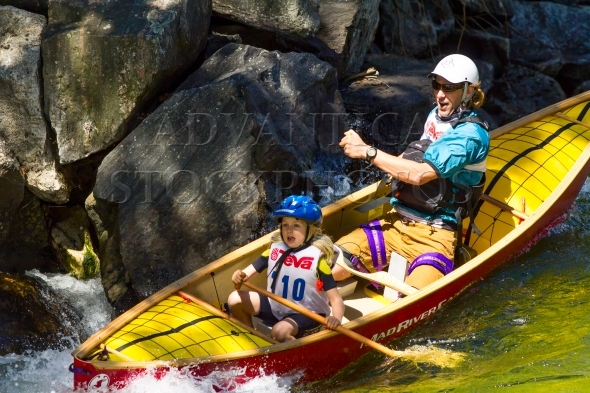 Whitewater canoe race – father and daughter team