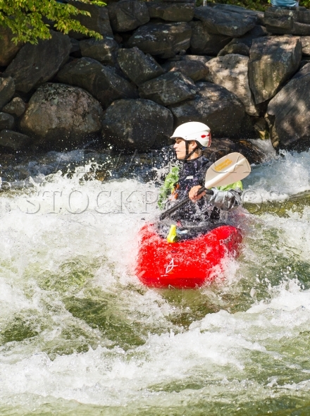 Kayak paddler at Minden Whitewater Preserve on Gull River