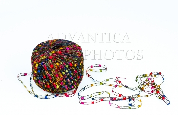 Colorful knitting yarn isolated on white