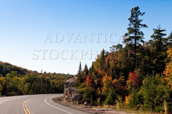 Driving on Trans-Canada highway in Lake Superior Park