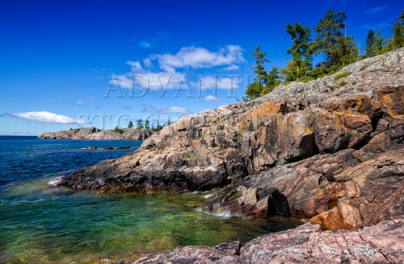 Rocky coastline at the north shore of Lake Superior