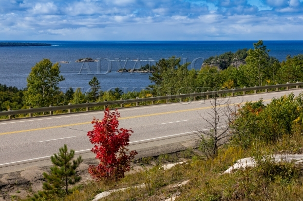 Trans-Canada Highway on shore of Lake Superior