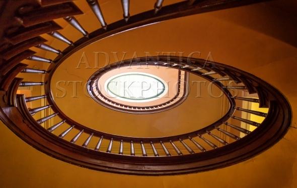Circular wooden staircase