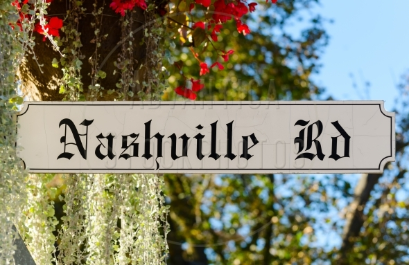 Nashville Road Sign on colorful background
