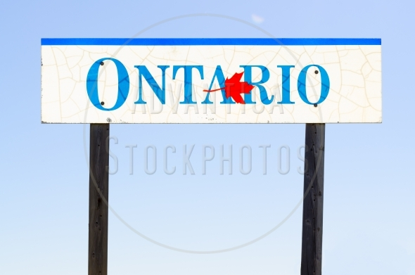 Ontario Road Sign with a maple leaf