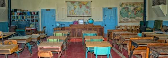 Old classroom in panoramic format