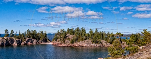 Chain of islands at the North shore Lake Superior
