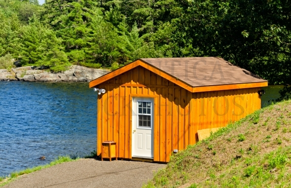 Small cabin at a lake