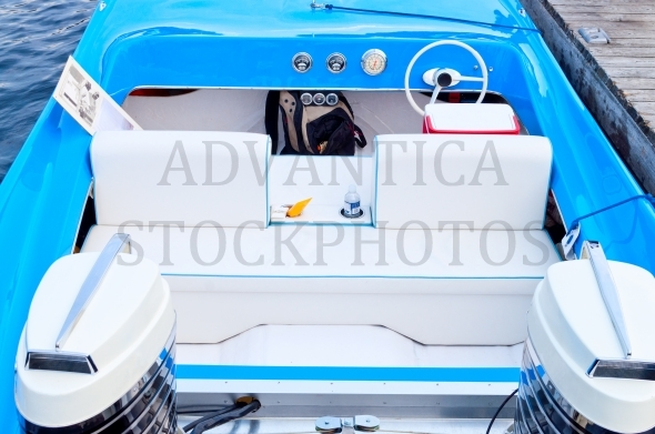 Blue and white boat interior