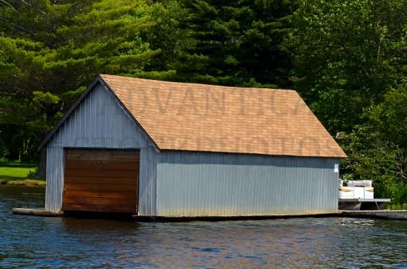 Boathouse made from corrugated metal