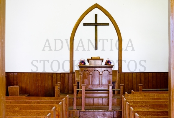 Chapel interior with a wooden cross