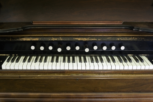 Old piano keyboard and buttons