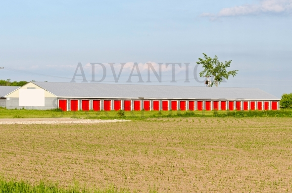 Storage building with red doors