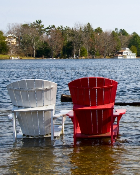 Two chairs in water