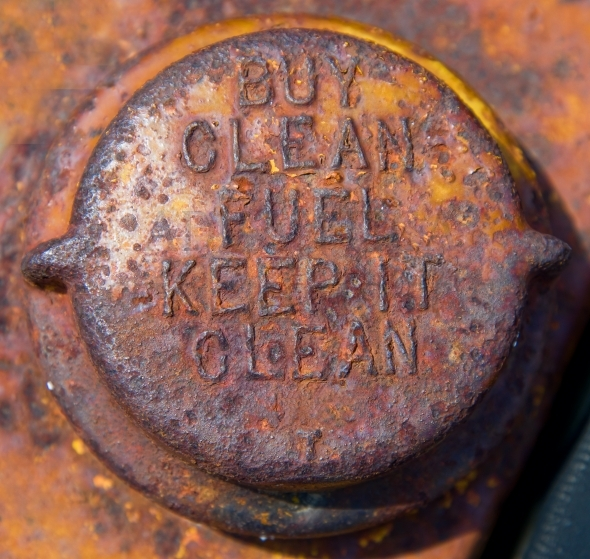 Old and rusty gas tank cap
